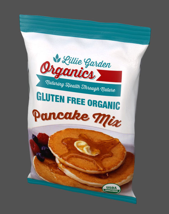 Lillie Garden Package Design Pancake Mix Bag Top Front View