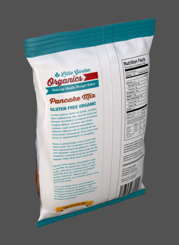 Lillie Garden Package Design Pancake Mix Bag Back View
