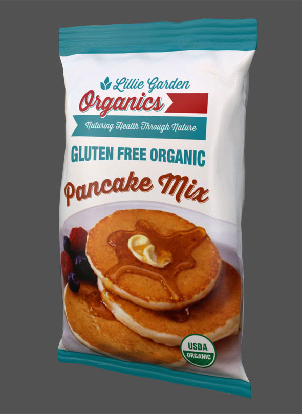 Lillie Garden Package Design Pancake Mix Bag Front View